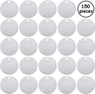 Stamping Blank Tags, 1 Inch Round with Hole Aluminum 0.06 Inch Thickness Blanks Tags (100 Pieces)