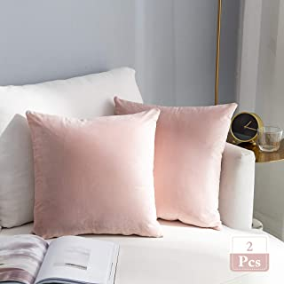 Stellhome Super Soft Velvet Throw Pillow Covers Square Cushion Covers for Bed Couch Sofa Bench, 18 x 18 inch (45 cm), Pink, Pack of 2