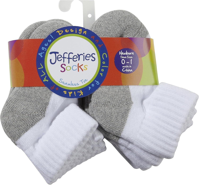 Jefferies Unisex Child Sport Quarter 6 Pk - White/Gry - 8-9.5