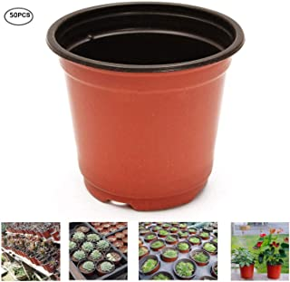 """Oubest Plastic Plant Nursery Pots 6"""" 50 pcs Reusable for Seed Starting Seedlings Cuttings Transplanting Flower Plant Pots"""