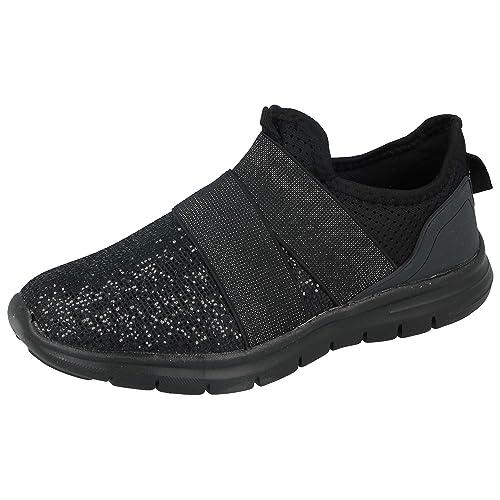 8ca77527e2ecc Ladies Kids Girls Glitter Or Mesh Cross Over Elastic Strap Slip On Fashion  Trainers Go Shoes