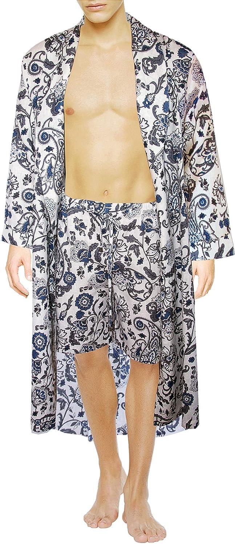 Linen Shawl Robe + Shorts Medium Blue Almandine