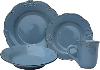Melange 710228915405 16 Piece Antique Edge Stoneware Dinner Place Setting, Serving for 4, Aqua