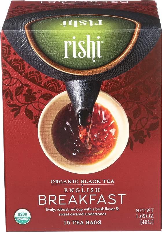 Rishi Tea English Breakfast Tea Organic Black Tea Sachet Bags 15 Count