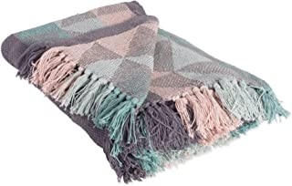 DII Rustic Farmhouse Cotton Jacquard Blanket Throw with Fringe For Chair, Couch, Picnic, Camping, Beach, & Everyday Use , 50 x 60