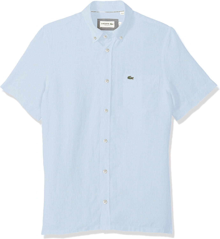 Lacoste mens Short Sleeve Solid Linen Collar Reg Fit Woven Button Down Shirt, Rill Light Blue, XX-Large US