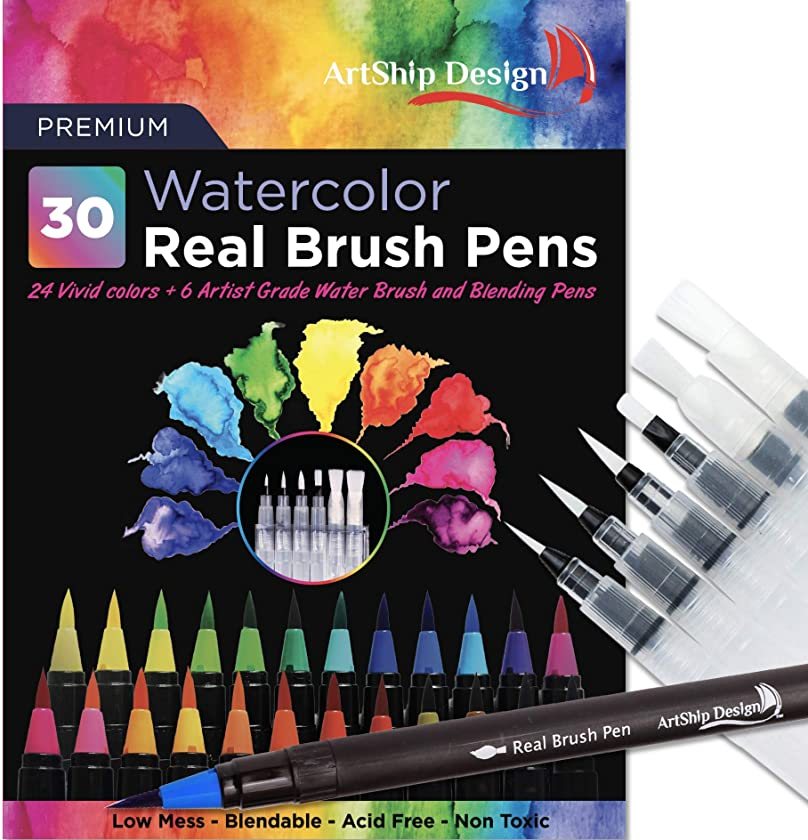 30 Watercolor Real Brush Pens, 24 Colors 6 Water Brushes, Flexible Real Nylon Brush Tips, for Watercolor Painting Calligraphy Coloring, Beginner or Artist, Portable, Low Mess