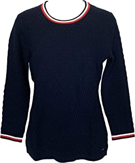 TOMMY HILFIGER Womens Knit Sweater Scoop Neck Sweaters Striped Neck