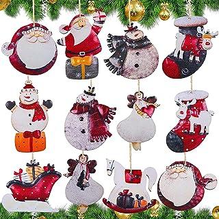 noyydh 12 قطعة من الحلي عيد الميلاد الخشبية، زخرفة شجرة عيد الميلاد مع الحبل الخيش، سانتا كلوز المزرعة الديكور