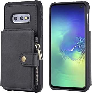 Samsung Galaxy S10e Wallet Case,Zipper Black Protective Cash Credit Card Holder Durable High Capacity Kickstand Cover Shell