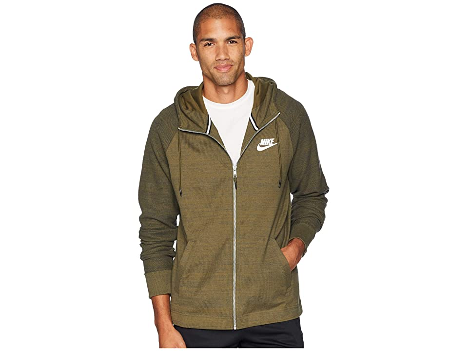 Nike NSW AV15 Hoodie Full-Zip Knit (Olive Canvas/Heather/White) Men