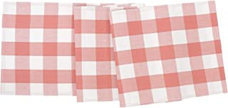 C&F Home Franklin Buffalo Check Gingham Plaid Woven Spring Summer Cookout Peony and White Cotton Table Runner Table Runner Peony