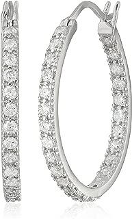 sterling silver hoop earrings with cubic zirconias