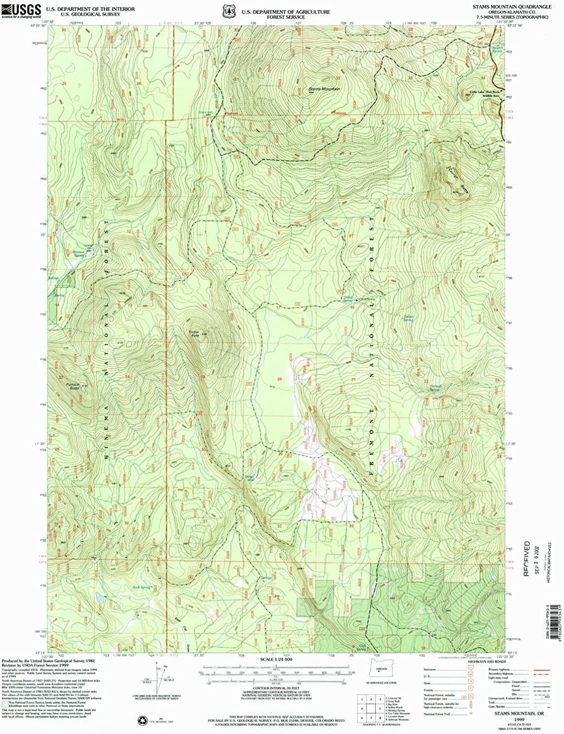 Stams Mountain OR topo map, 1 24000 Scale, 7.5 X 7.5 Minute, Historical, 1999, Updated 2002, 26.7 x 21.9 in