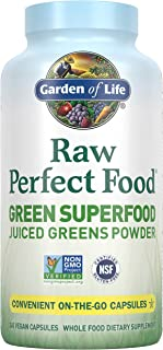 Garden of Life Raw Perfect Food Green Superfood Juiced Greens Powder Capsules - 30 Servings, Non-GMO, Gluten Free, Vegan W...