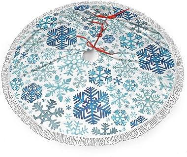 rouxf Jupe de sapin de Noël en forme de flocons de neige - Bleu - 91,4 cm