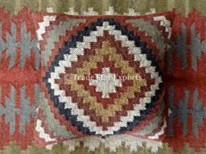 Trade Star Exports Indian Kilim Throw Pillow Cover 18x18, Jute Outdoor Cushions, Decorative Pillow Cases, Boho Cushion Cover, Pillow Shams