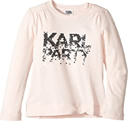 Karl Lagerfeld Kids - Long Sleeve Graphic Tee with Gathering On The Shoulders (Little Kids)