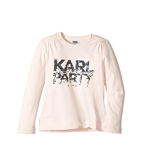 375d5514f Karl Lagerfeld Kids Long Sleeve Graphic Tee with Gathering On The ...
