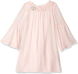 Amy Byer Girls' Big Bell Sleeve Dress with Lace Trim
