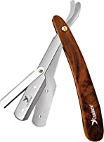 Candure Cut Throat Razor Kit, Professional Barber Straight Edge Razors for Shaving and Shaping- Wooden Handle Beard and Moustache Single Blade Shavers for Men and Adults
