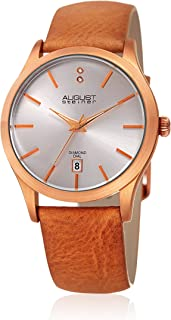 August Steiner Women's Stainless Steel Quartz Watch with Leather Strap, Brown, 20 (Model: AS8233RG)