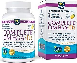 Nordic Naturals Complete Omega-D3, Lemon Flavor - 565 mg Omega-3 + 70 mg GLA + 1000 IU Vitamin D3-60 Soft Gels - EPA & DHA...