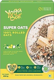 Yogabar 100% Rolled Oats 400g | Premium Golden Rolled Oats, Gluten Free Oats with High Fibre, 100% Whole Grain, Non GMO, N...