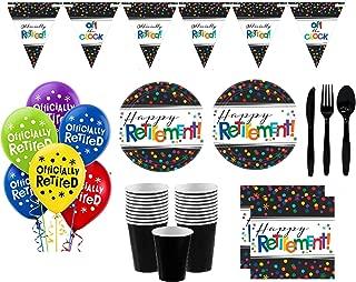 Retirement Party Supplies - Happy Retirement Plates, Napkins, Cups, Cutlery & Large Happy Retirement Banner