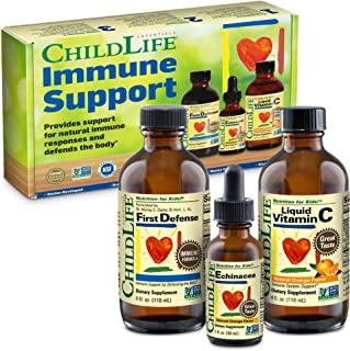 ChildLife Essentials Immune Support 3-Pack for Kids - Liquid Vitamin C, Echinacea and First Defense Immune Formula with Ol...