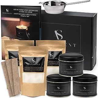 ASANSPENT® Kit Complet de Fabrication de Bougies DIY – Cire de Soja Végétale et Mèche en Bois Crépitante – Réalisez Facile...