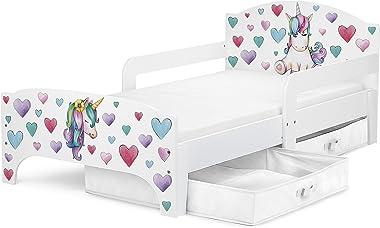 Leomark Smart letto per bambini in legno, lettino con cassetto cassettone e materasso 140x70cm, magnifiche stampe, mobili per bambini, attrezzatura stanza per bambino, tema: UNICORNO