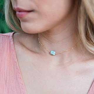 Raw larimar crystal choker necklace in 14k gold fill - 12