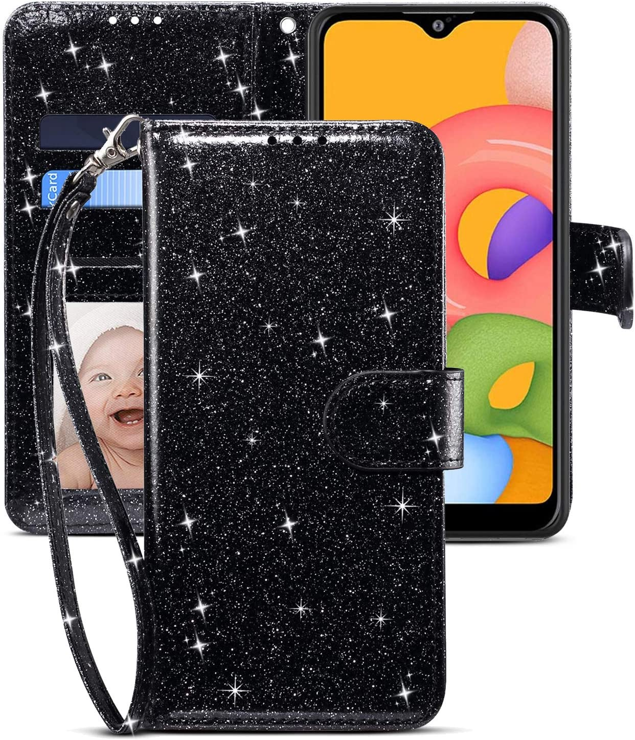 CHICASE Case for Galaxy A01,Samsung A01 Case,Folding Flip Glitter Bling Cute Leather Wallet Shockproof Protective Case with Kickstand Card Slots Wrist Strap Magnetic for Samsung Galaxy A01 (Black)