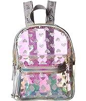Clear Metallic Mini Backpack with Glitter Hearts