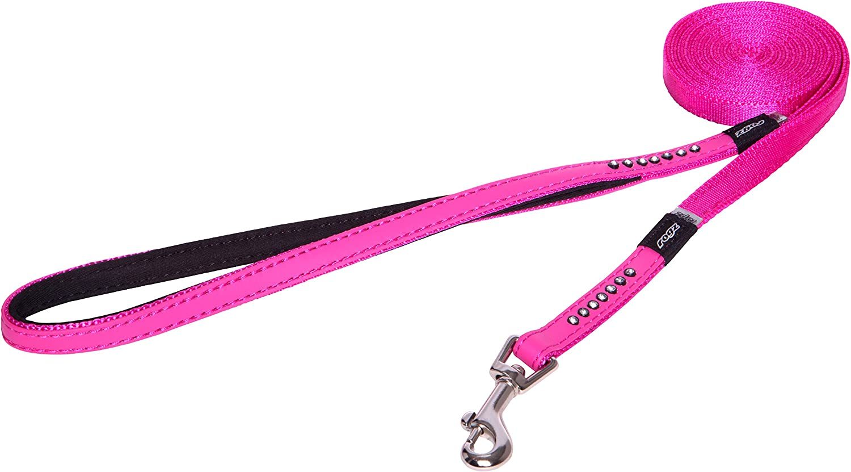 Rogz Lapz Small 3 8Inch Luna Fixed 6Feet Long Luxury Fashion Dog Leash, Pink