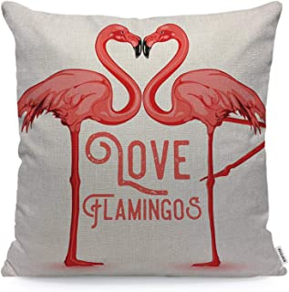 Wozukia Love Flamingos Throw Pillow Cover Two Flamingos Kissing with Necks in The Shape of A Heart Pink Square Pillow Case...