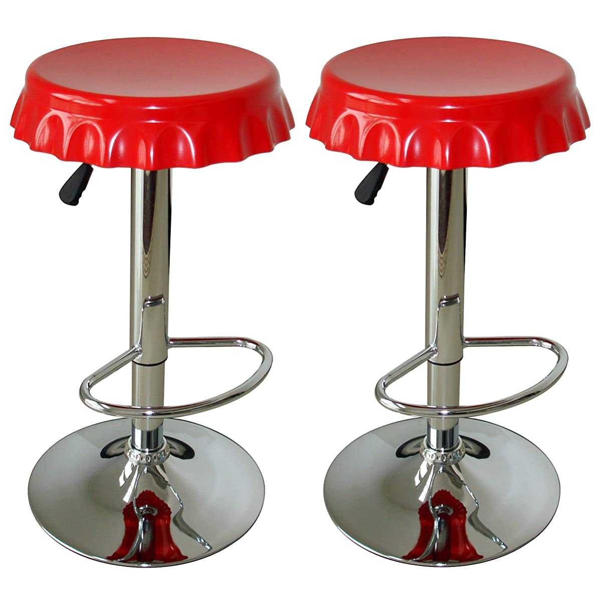 AmeriHome Retro Soda Cap Bar Stool - 2 Pc Red - N/A