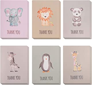 Animal Thank You Cards, Perfect for Kids & Baby Shower. Bulk Set of 30 Small & Cute cards Ideal for any Occasion. Blank on the inside & with Matching green envelopes included.