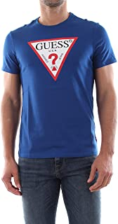 GUESS Men's Crew Neck Small Sleeve Original Logo T-Shirt, Blue (Blue Maya), Medium