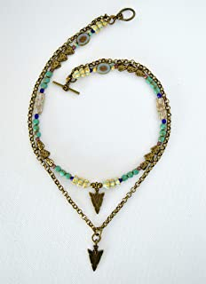 Collana a cascata boho chic di perle turchesi e catena