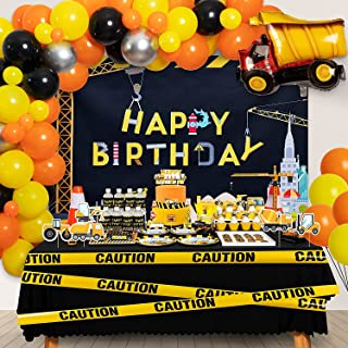 DMIGHT Construction Birthday Party Supplies, 192 Pcs Party Favors - Backdrop, Cupcake Toppers, Caution Party Tape, Sticker...