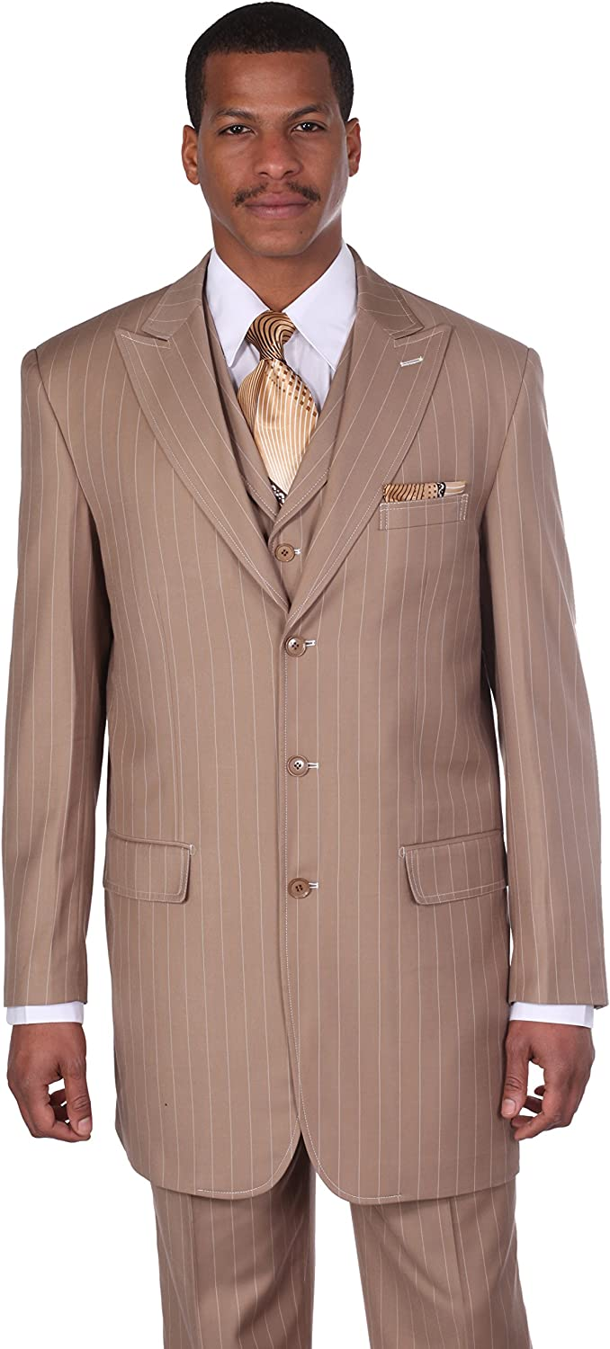 Milano Moda Men's 3 Piece Gangster Pin-Striped Suit with Vest 5903v