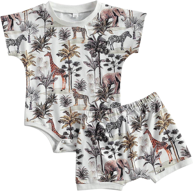 Newborn Baby Boy Animal Print Short Sleeve Romper + Floral Shorts Summer Outfit 2Pcs