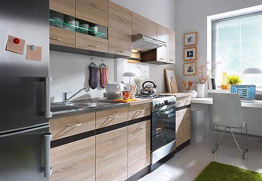 Küche 240cm in Eiche von FIWODO® – ERWEITERBAR – günstig + schnell – Einbauküche Junona Line Set 240