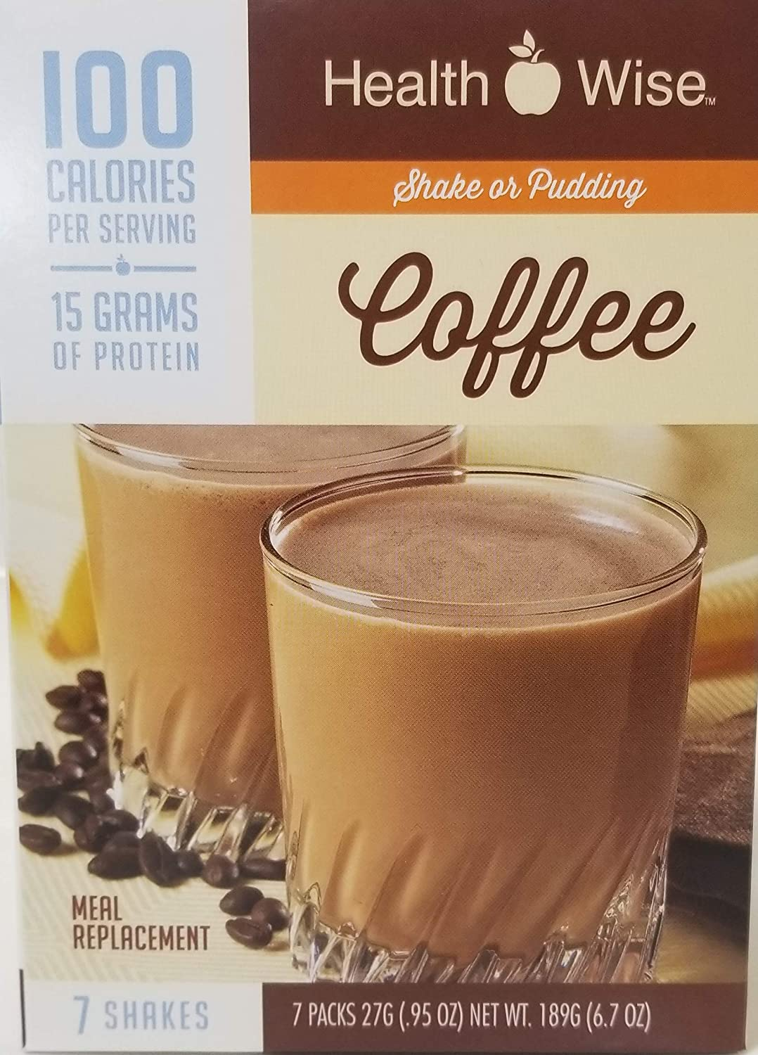 Healthwise - Coffee 100 Calorie Meal Replacement High Protein Pudding/Shake for Any Diet - 15 Grams of Protein - Zero Grams of Fat - Appetite Control for Weight Loss - 7 Packets 0.85 OZ