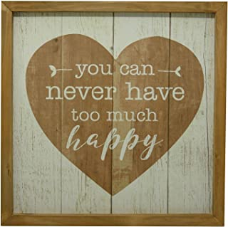 NIKKY HOME Decorative Wood Framed Wall Sign with Inspirational Quote You can Never Have Too Much Happy