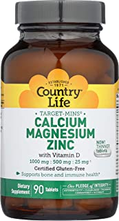 Country Life Target-Mins Calcium Magnesium Zinc w/Vitamin D 1000mg/500mg/25mg - 90 Tablets - Supports Bone & Immune