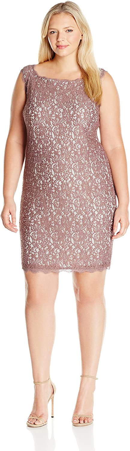 Adrianna Papell Women's PlusSize Sleeveless Short Lace Cocktail Dress