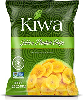 Kiwa Golden Plantain Chips (5 Pack, 6.5 Oz Bag) All Natural Plant Based, Sustainably Sourced, Non-GMO, Gluten Free, Savory Snack